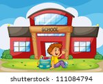 illustration of a boy infront... | Shutterstock . vector #111084794