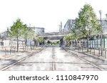 train bridge across an empty... | Shutterstock . vector #1110847970