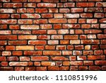 old colour grunge brick wall... | Shutterstock . vector #1110851996