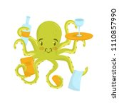 adorable green octopus with... | Shutterstock .eps vector #1110857990