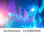 glowing forex style graphs and... | Shutterstock . vector #1110865040