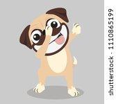 dabbing pug smile face vector | Shutterstock .eps vector #1110865199