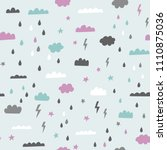rain clouds and storm vector... | Shutterstock .eps vector #1110875036