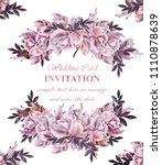 vintage wedding card with roses ...   Shutterstock .eps vector #1110878639