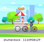 hot dog shop on carts vector... | Shutterstock .eps vector #1110908129