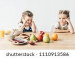 sad little sisters do not want...   Shutterstock . vector #1110913586