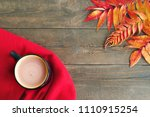 cup of coffee and bright autumn ... | Shutterstock . vector #1110915254
