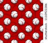 seamless pattern with baseball... | Shutterstock .eps vector #1110922286