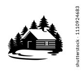 wood house in the hill  icons... | Shutterstock .eps vector #1110924683
