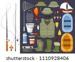 large set of fisherman fishing... | Shutterstock .eps vector #1110928406