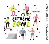 extreme sports cartoons.... | Shutterstock .eps vector #1110930536