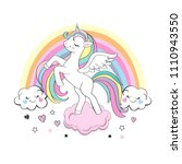 beautiful unicorn with a... | Shutterstock .eps vector #1110943550