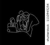 teamwork meeting line drawing ... | Shutterstock .eps vector #1110945254