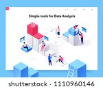 people interacting with charts... | Shutterstock .eps vector #1110960146