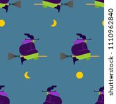 witch on broom pattern seamless.... | Shutterstock .eps vector #1110962840