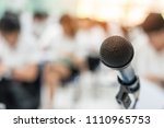 microphone voice speaker with... | Shutterstock . vector #1110965753