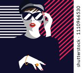 fashion woman in style pop art. ... | Shutterstock .eps vector #1110966530