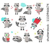 cute raccoon icon set for... | Shutterstock .eps vector #1110966674