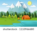summer camping background with...   Shutterstock .eps vector #1110966680
