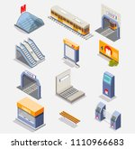 subway icon set. vector flat... | Shutterstock .eps vector #1110966683