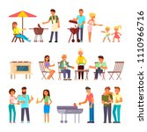 barbecue people icon set.... | Shutterstock .eps vector #1110966716