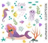 cute set mermaid and underwater ... | Shutterstock .eps vector #1110970106