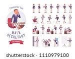 male office secretary ready to... | Shutterstock .eps vector #1110979100