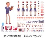male office secretary character ... | Shutterstock .eps vector #1110979109