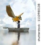 boy standing on an old wooden...   Shutterstock . vector #1110980138