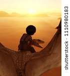 boy riding the dragon 3d... | Shutterstock . vector #1110980183