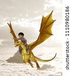 boy riding the dragon 3d... | Shutterstock . vector #1110980186