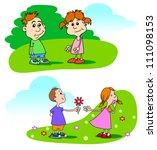 boys and girls | Shutterstock .eps vector #111098153