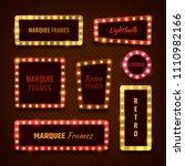 vintage 3d light marquee vegas... | Shutterstock . vector #1110982166