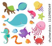cartoon childrens aquarium and... | Shutterstock . vector #1110985049