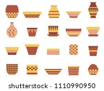 clay pot and vase icon set for... | Shutterstock .eps vector #1110990950