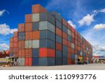 container in shipping yard of... | Shutterstock . vector #1110993776