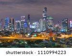 bangkok city in night. building ... | Shutterstock . vector #1110994223