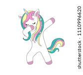 dabbing unicorn on a white... | Shutterstock .eps vector #1110996620