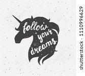 vector silhouette of unicorns... | Shutterstock .eps vector #1110996629