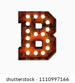 letter b. realistic rusty light ... | Shutterstock . vector #1110997166