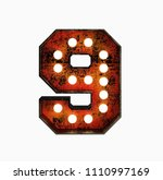 number 9. realistic rusty light ... | Shutterstock . vector #1110997169