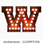 letter w. realistic rusty light ... | Shutterstock . vector #1110997196