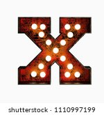 letter x. realistic rusty light ... | Shutterstock . vector #1110997199