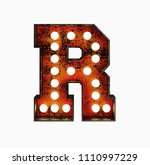 letter r. realistic rusty light ... | Shutterstock . vector #1110997229