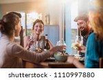 multi ethnic group of friends... | Shutterstock . vector #1110997880