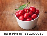 cherry   heap of fresh berries... | Shutterstock . vector #1111000016