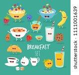 funny breakfast set. comic... | Shutterstock .eps vector #1111001639
