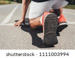 close up view of running shoes... | Shutterstock . vector #1111003994