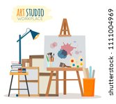 art studio interior. creative... | Shutterstock .eps vector #1111004969