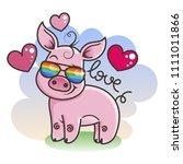 cute cartoon baby pig in love...   Shutterstock .eps vector #1111011866